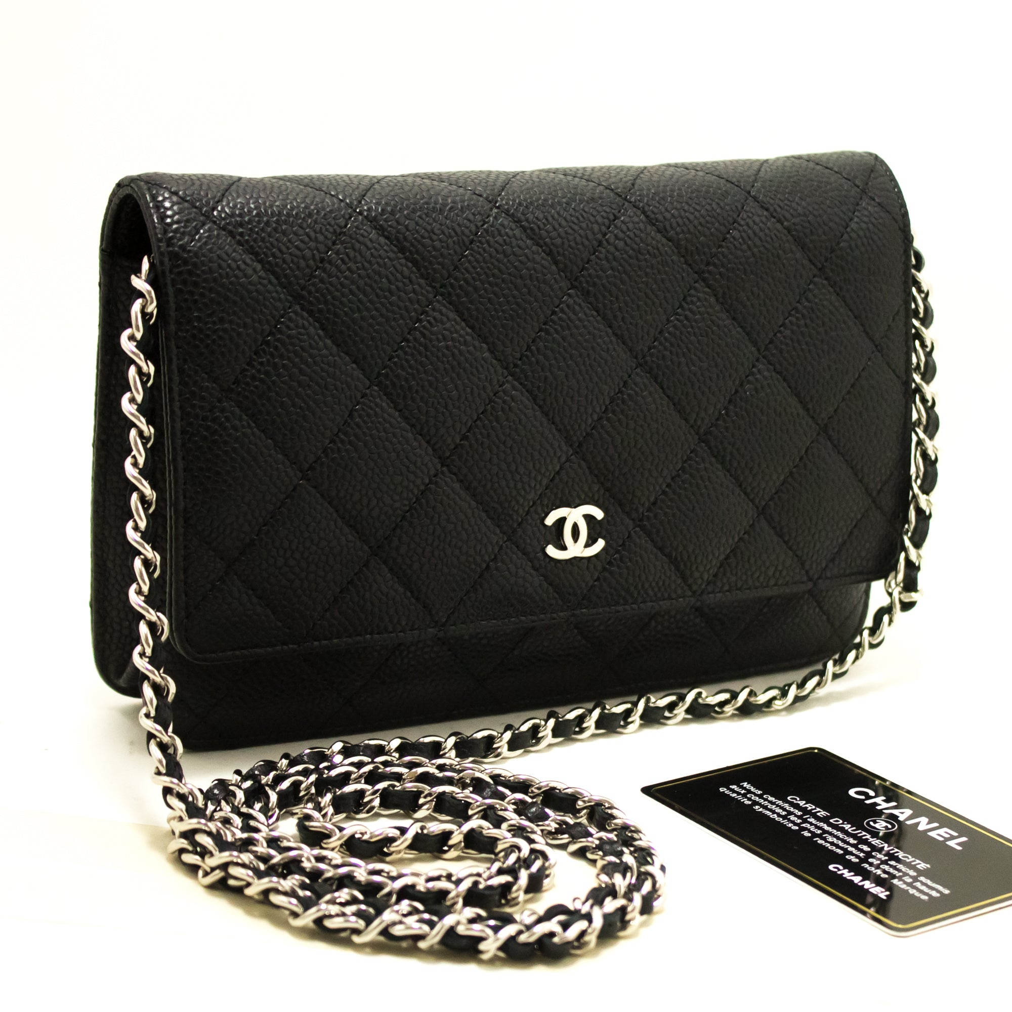 1bdcce7bdf2afe ... CHANEL Caviar Wallet On Chain WOC Black Shoulder Bag Crossbody Q07- Chanel-hannari- ...