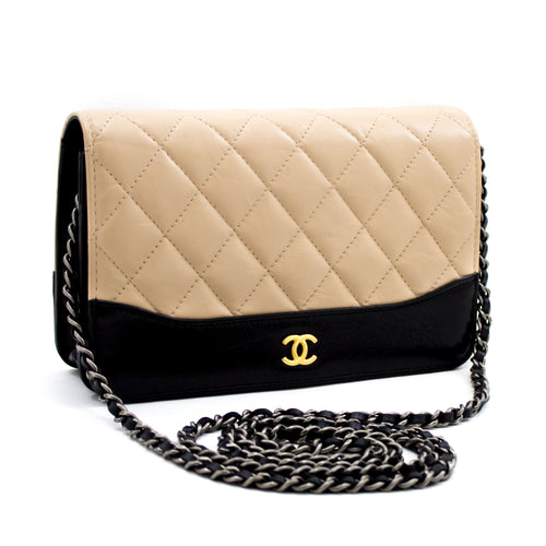 CHANEL Bi-color Black Beige Wallet On Chain WOC Shoulder Bag Purse x67 hannari-shop