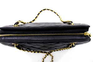CHANEL Caviar Double Chain Shoulder Bag Black Quilted Leather Zip t87-hannari-shop