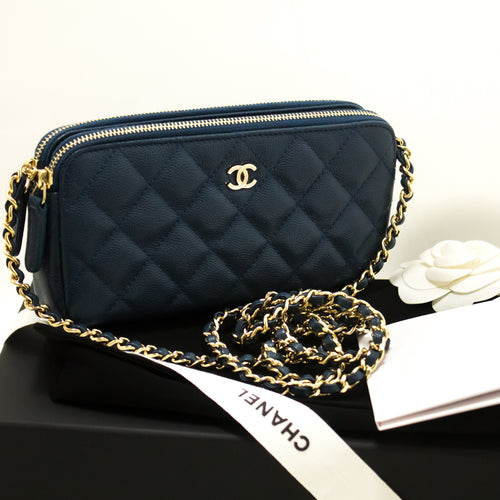 CHANEL Caviar Navy Wallet On Chain WOC W Zip Chain ejika apo apo p14-Chanel-hannari-shop