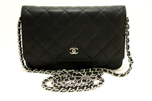 CHANEL Caviar Wallet On Chain WOC Black Shoulder Bag Crossbody Q07
