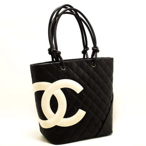 CHANEL Cambon Tote Small Shoulder Bag Black White Quilted Calfskin p21