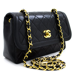 CHANEL Chain Shoulder Bag Black Quilted Single Flap Lambskin u58 hannari-shop