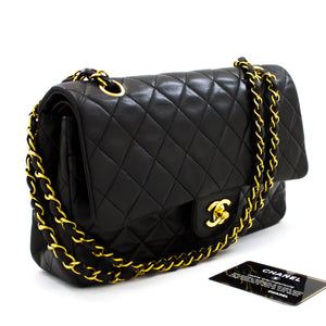"CHANEL 2.55 Double Flap 10"" Chain Shoulder Bag Black Lambskin t90-hannari-shop"