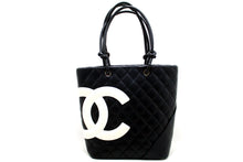 CHANEL Cambon Tote Small Shoulder Bag Black White Quilted Calfskin p21-hanel-hannari-shop