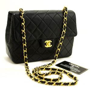 CHANEL Mini Small Chain Shoulder Bag Crossbody Black Quilted Flap p22