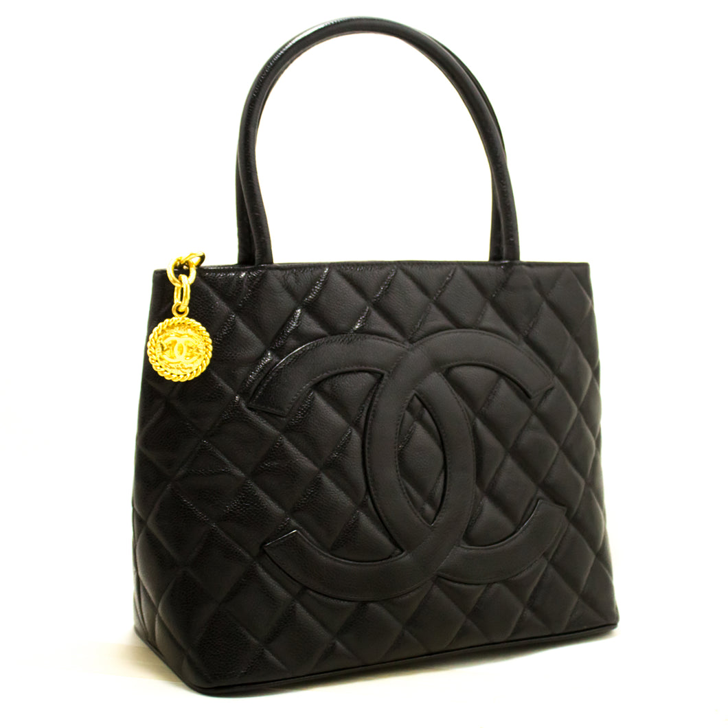 CHANEL Gold Medallion Caviar Shoulder Bag Shopping Tote Black R36-hanel-hannari-shop
