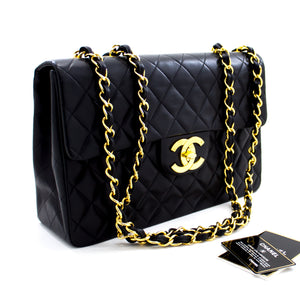 "CHANEL Jumbo 13 ""Maxi 2.55 Flap Chain Caner Bag ጥቁር ላምስኪን x66 ሺንሪ-ሱቅ"