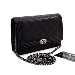 CHANEL Boy Caviar Black Wallet On Chain WOC Shoulder Bag Quilted t12