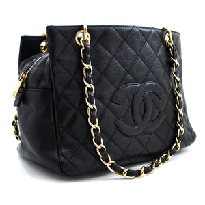 CHANEL Caviar Chain Shoulder Bag Shopping Tote Black Quilted Purse u19 hannari-shop