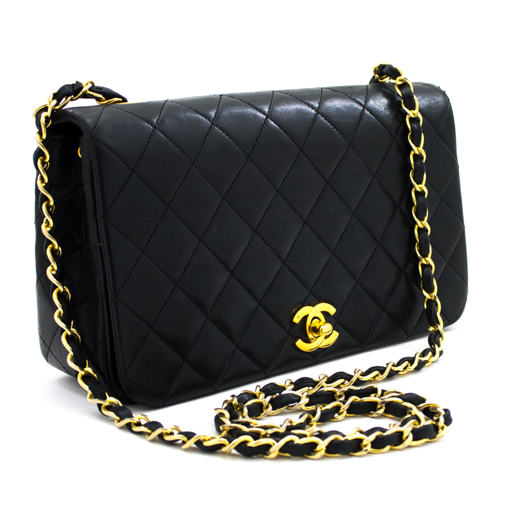 CHANEL Chain Shoulder Bag Crossbody Black Quilted Flap Lambskin t91-hannari-shop