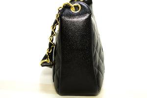 CHANEL Caviar Chain One Shoulder Bag Black Quilted Leather Zipper Q22-Chanel-hannari-shop