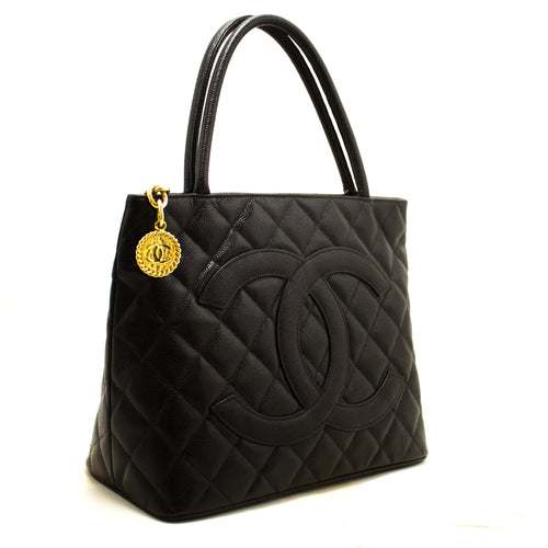 CHANEL Gold Medallion Caviar Shoulder Bag Shopping Tote Black R35-Chanel-hannari-shop