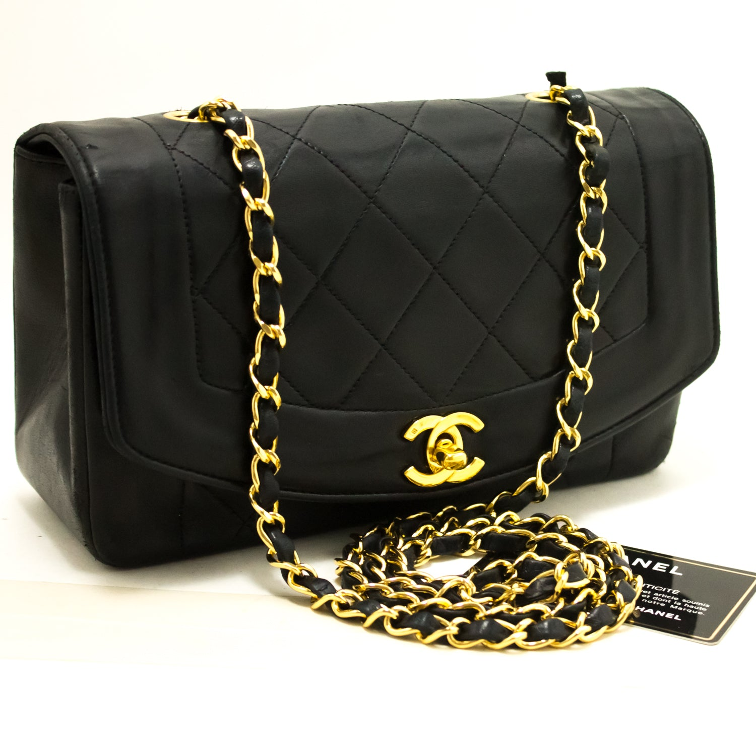 ... CHANEL Diana Flap Chain Shoulder Bag Crossbody Black Quilted Lamb  p25-Chanel-hannari- ...