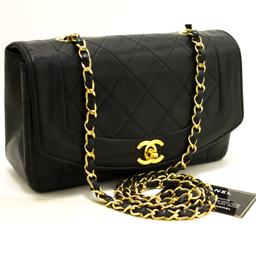 CHANEL Diana Flap Chain Shoulder Bag Crossbody Black Quilted Lamb p25-Chanel-hannari-shop