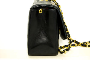 CHANEL Diana Flap Chain Shoulder Bag Crossbody Black Quilted Lamb p25