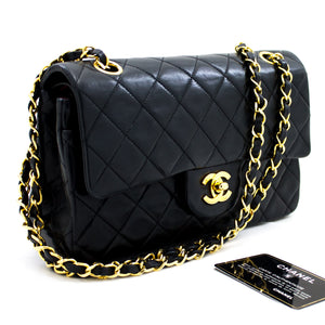"CHANEL 2.55 Double Flap 9"" Chain Shoulder Bag Black Lambskin Purse x61 hannari-shop"