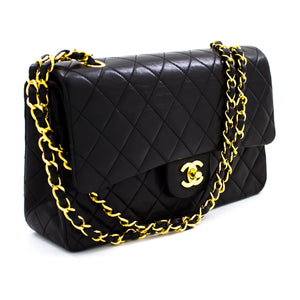 "CHANEL 2.55 Double Flap 10"" Chain Shoulder Bag Black Lambskin t21"