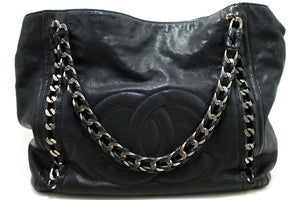 CHANEL Caviar Chain Shoulder Bag Black Leather Silver Tote Large p91-Chanel-hannari-shop