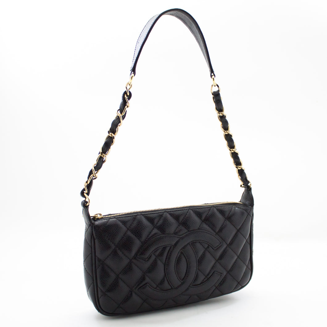 CHANEL Caviar Mini Small Chain One Shoulder Bag Black Quilted u77 hannari-shop