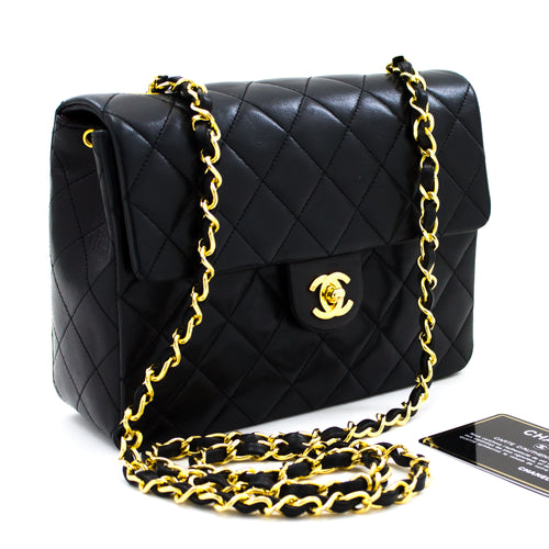 CHANEL Mini Square Small Chain Shoulder Bag Crossbody Black Purse t92-hannari-shop
