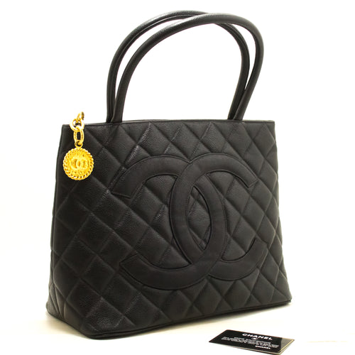 CHANEL Gold Medallion Caviar Shoulder Bag Kaki Tote Black R34-hanel-hannari-shop