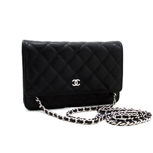 CHANEL Caviar Wallet On Chain WOC Black Shoulder Bag Crossbody x90 hannari-shop