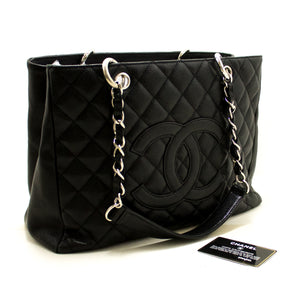 "CHANEL Caviar GST 13"" Grand Shopping Tote Chain Shoulder Bag Black p86"