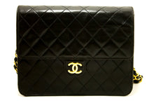 CHANEL Small Chain Shoulder Bag Clutch Black Quilted Flap Lambskin p24