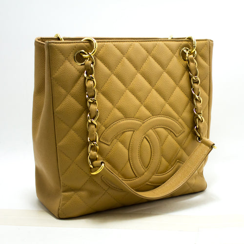 CHANEL Caviar Beige PST ჯაჭვის მხრის ჩანთა Shopping Tote Quilted Q53-Chanel-hannari-shop