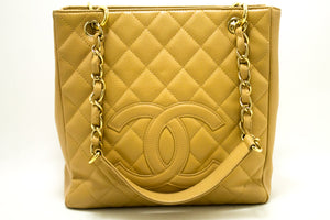 CHANEL Caviar Beige PST Chain Shoulder Bag Shopping Tote Quilted Q53
