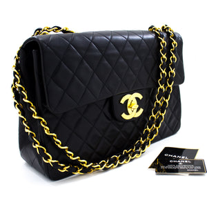 "CHANEL Jumbo 13"" Maxi 2.55 Flap Chain Shoulder Bag Black Lambskin t08"