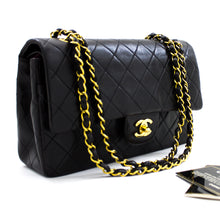 "CHANEL 2.55 Double Flap 10 ""Chain Shoulder Bag Black Lambskin u61 hannari-shop"