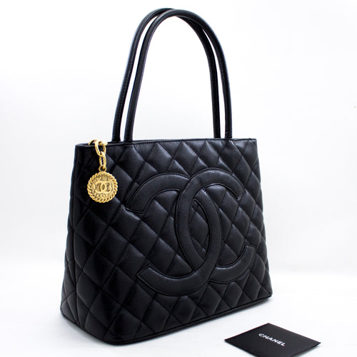 CHANEL Gold Medallion Caviar Shoulder Bag Tote Black u59 hannari-shop