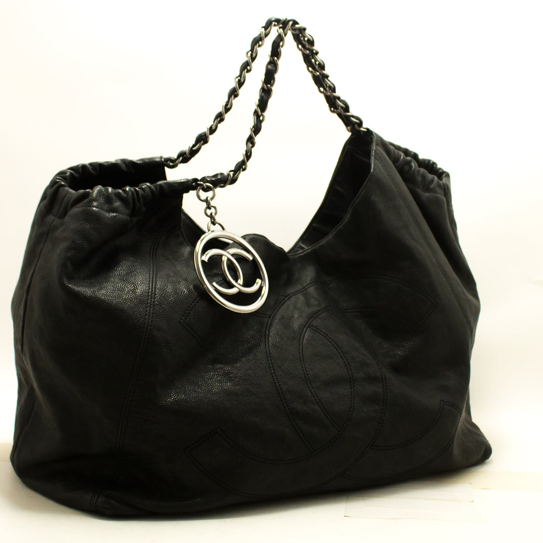 CHANEL Coco Cabas Caviar Leather Chain Shoulder Bag Black Silver p23-Chanel-hannari-shop