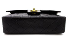 "CHANEL 2.55 Double Flap 10"" Chain Shoulder Bag Black Lambskin u61 hannari-shop"