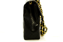"CHANEL Jumbo 11"" Large Chain Shoulder Bag Flap Black Lambskin Q48-Chanel-hannari-shop"