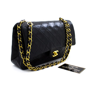 "CHANEL 2.55 Flap 10 ""Chain Shoulder Bag Black Black Quilted Lamb t23-hannari-shop"