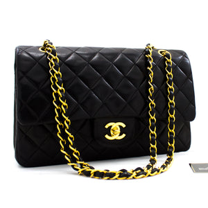 "CHANEL 2.55 Double Flap 10 ""Classic Chain Shoulder Bag Black y43 hannari-shop"