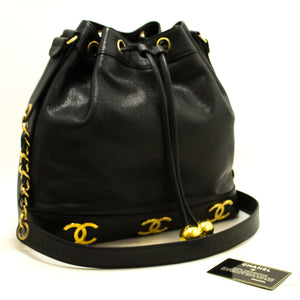 CHANEL Caviar Drawstring Chain Shoulder Bag Black Triple Coco R21-Chanel-hannari-shop