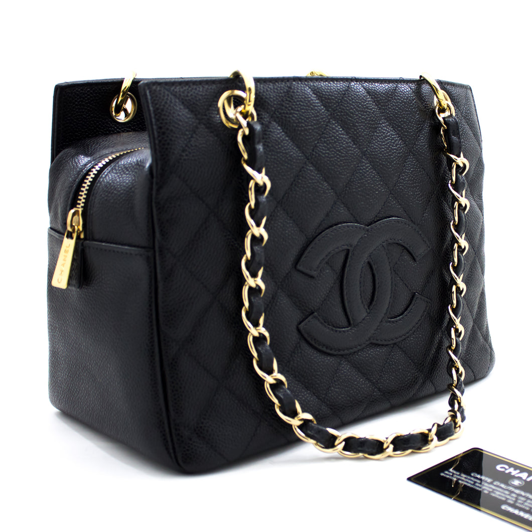 CHANEL Caviar Chain Shoulder Bag Shopping Tote Black Quilted u63 hannari-shop