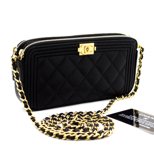 CHANEL Boy Black Caviar Wallet On Chain WOC W Zip apo ejika u08-hannari-shop