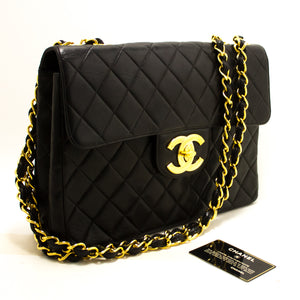 "CHANEL Jumbo 11"" Large Chain Shoulder Bag Flap Black Lambskin R23-nel-hannari-shop"