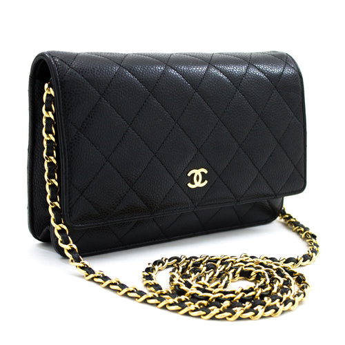 CHANEL Caviar Wallet On Chain WOC Black Shoulder Bag Crossbody u67 hannari-shop