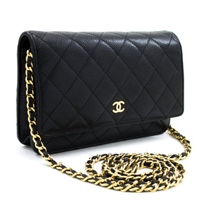 CHANEL ҳамён Caviar оид ба занҷир WOC Black Shoulder халтаи Crossbody u67 hannari-мағозаи