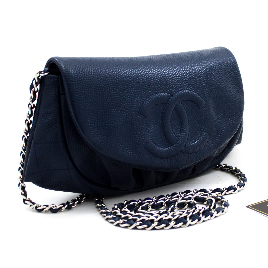 CHANEL Caviar Half Moon WOC Navy Wallet On Chain Shoulder Bag u09-hannari-shop