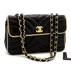 CHANEL Chain Shoulder Bag Black Beige Quilted Single Flap Lambskin y37 hannari-shop