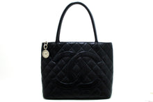 CHANEL Silver Medallion Caviar Shoulder Bag Shopping Tote Black Q54-Chanel-hannari-shop