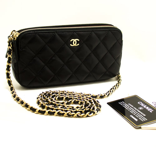 CHANEL Lambskin Wallet On Chain WOC W Zip Chain Shoulder Bag Black p55