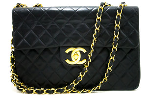 "CHANEL Jumbo 13"" Maxi 2.55 Flap Chain Shoulder Bag Black Lambskin R14-Chanel-hannari-shop"